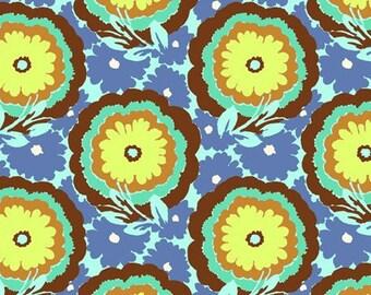 "blue floral brown teal Amy Butler fabric ""Soul Blossums"" fabric in  Cyan fabric fat quarter yard half yard"