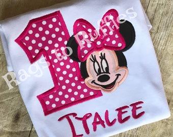 Minnie Birthday Shirt- Personalized Minnie 1st Birthday Shirt - Personalized Mouse Birthday Shirt