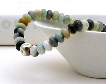 Natural Amazonite Minimalist Beaded Bracelet Stretch Natural Stone  Unisex Under 100, US free shipping gift wrap