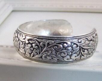 Allie,Bracelet,Cuff,Silver Bracelet,Cuff Bracelet,Bracelet,Silver,Antique Bracelet,Wedding,Bride.Handmade Jewelry by valleygirldesigns.