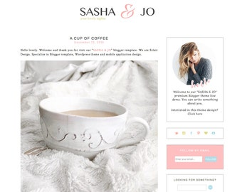 Blogger Template Premade Blog Theme Design Sasha & Jo - Instant Digital Download, Clean, Pink and White