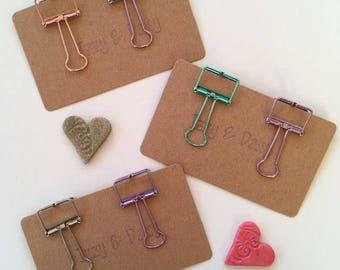 Outline binder clip set of 2, 19mm metallic metal bulldog clips, cute stationery, tn fauxdori clips, happy mail, penpal gift