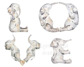 Love Print, Elephant Nursery Art, Baby Shower Gift, Baby Gift, Valentine's Day, Elephant Nursery, Elephant Decor, Nursery Print, Baby Decor