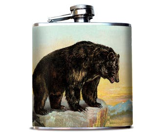 Vintage Bear Illustration, Flask for Whiskey, Vintage Grizzly, Perfect Groom Gift, Outdoors and camping, 6 oz flask