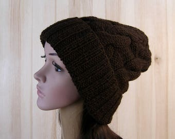 Brown Slouchy Cable Beanie knitted Hat Slouch Hat Brown Beanie, Slouchy winter hat slouchy hats womens knit hat
