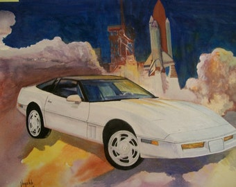 White corvette with space shuttle..