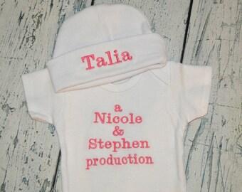 Parent Baby Production bodysuit - Custom You choose Color - Newborn Announcement - Baby Shower Gift