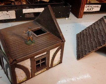 """4""""x4"""" Tudor Building with Attic and removable floor/Roof (Dwarven Forge compatible)"""
