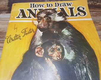 How to Draw Animals,Walter Foster art book, 1970s, vintage book, art book