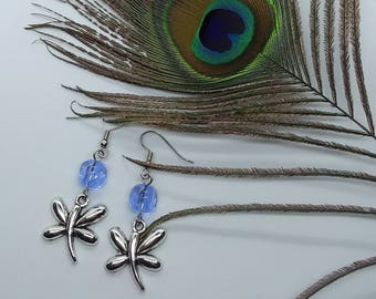 Blue Dragonfly Earrings (Pierced or Clip-On)