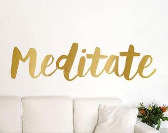 Yoga Gifts: Yoga Decor Studio Wall Decals Meditate or Meditation for Yoga Mom Inspirational Vinyl Wall Decal Boho Font (01711bN)