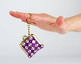 Keychain purse - Chibi pandas in purple - Tiny purse / Metal frame coin purse / Japanese fabric / black and white / neon yellow