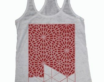 Women's PATTERN RECOGNITION Tank Top Sacred Geometry Dotwork Tattoo Style Shirt