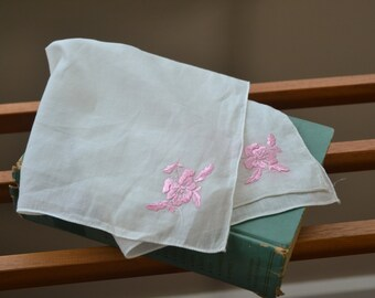 Vintage Womens Handkerchief Embroidered Pink Floral Hanky