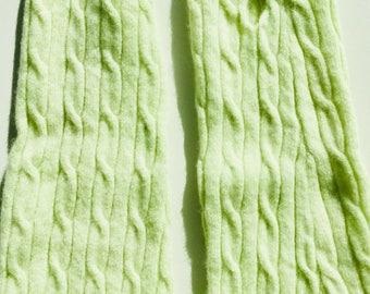 Cashmere Fingerless Green gloves arm warmers texting cabled