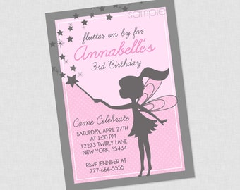 Sweet Silhouette Fairy Birthday Invitation - Fairy Birthday Invitation , Fairy Birthday Invites , Fairy Birthday Party Invite , Pink Fairy