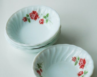 Small Pyrex like bowls with delicate red roses set of four