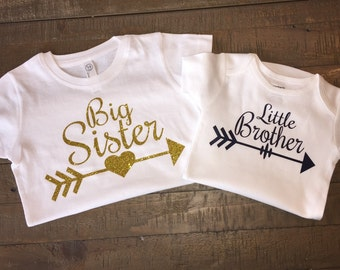 Personalized Big Sister Little Brother Arrow Shirt Set