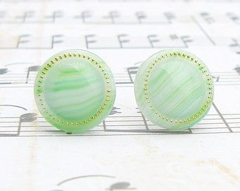 Shades of Green - vintage glass button stud earrings
