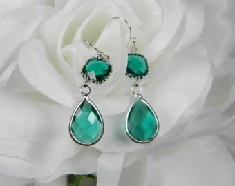 Emerald Green/ Teal Green Silver Earrings, Green Glass Earrings, Bridesmaid Gift Emerald Green Dangle Earrings, Emerald Green Jewelry - TDS1