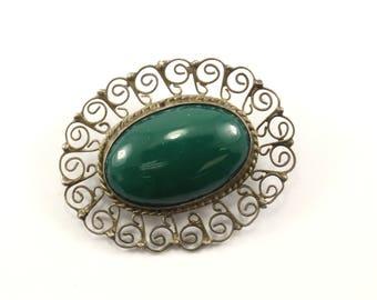 Vintage Mexico Scroll Design Malachite Stone Pin/Brooch 925 Sterling BB 855