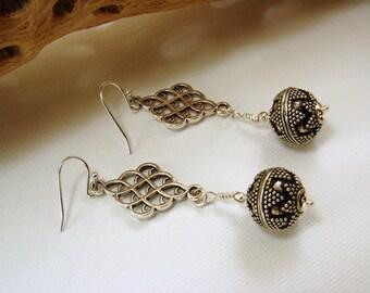 Bali Silver Bead Earrings, Boho Style Earrings, Silver Earrings, Sterling Earrings