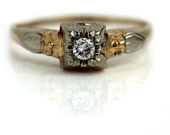 Engagement Ring .10ctw Diamond Engagement Ring Old Ring Vintage Diamond Ring Vintage 1940s Ring 14K Two Tone Diamond Ring 14K Rose Gold Ring