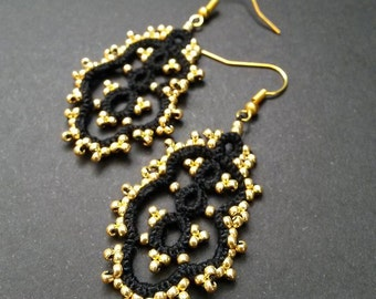 Handmade Tatted Lace Earrings Black with Gold Beads – Needle Tatting Lacy Earrings – Elegant Earrings – Gift for her – Under 10