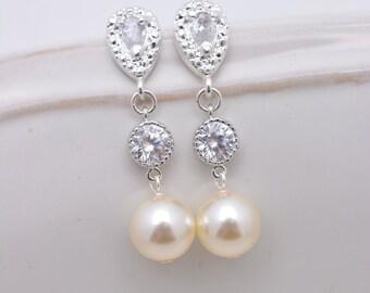 Ivory Pearl Bridal Earrings, Wedding Earrings, Ivory Pearl and Rhinestone Earrings, Long Pearl Drop Earrings, Pearl Dangle Earrings 0400