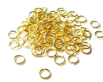 50 x simple jump rings 6mm gold