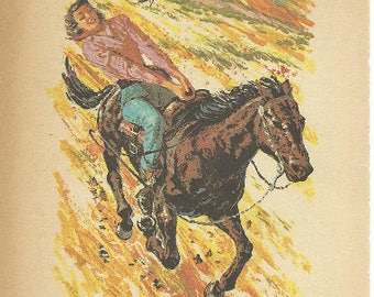 USA 1961 VINTAGE PAINTING Girl Riding a Horse Summer of Pride Mother's Day Gift Country Vintage Horse Print New Mat Ready to Frame 10 x 8