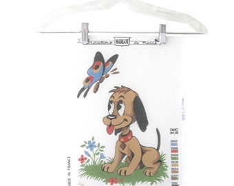 Cross Stitch Pattern Canvas Dog Butterfly Cartoon Margot Made in France