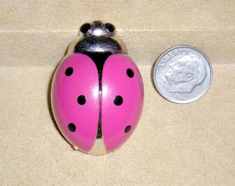 Vintage Signed Germany Pink Enamel Lady Bug Pin Brooch Figural 1950's Jewelry 11027