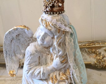 White Painted Angle Statue Cherub Figurine Distressed Gold French Nordic Rustic Shabby Chic Nursery Decor