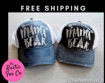 Mama Bear Hat, Mama Bear Cap, Mama Bear Glitter, Mama Bear, Mama Bear Baseball Cap, Trucker Hat, Bear Cap, Bear Hat, Tribal Cap, Baby Shower