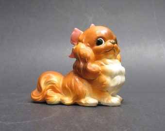 Vintage Cute Fluffy Dog with a Pink Bow (E10035)