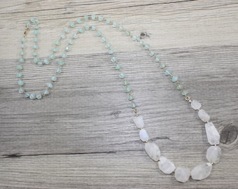 Aqua Chalcedony Chain and Moonstone Faceted Nugget Bead Necklace