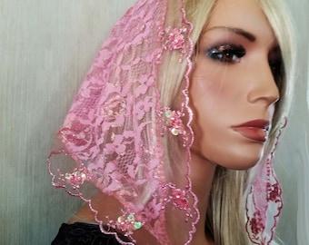 Petite Iridescent Pink Pearl Trim Mantilla | Free Quilted Carry Bag | Heirloom Mantilla | Chapel Veil |  Catholic Veil | The Veiled Woman