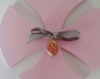 """Beautiful cross """"Clothilde"""" which is attached to a miraculous medal with a satin ribbon."""