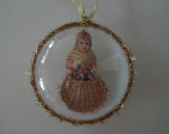 Seashell Christmas Vintage Victorian Ornament Decoration Gift Victorian Scrap Vintage Inspired Christmas