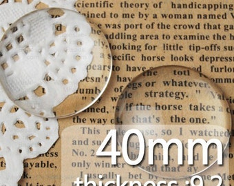 50PCS 40MM Round Flat Back clear Crystal glass Cabochon,Top quality C1177