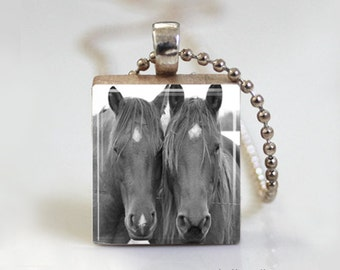 Black and White Horse Horses - Scrabble Tile Pendant - Free Ball Chain Necklace or Key Ring
