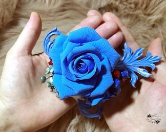 Christmas flowers brooch,Rose flower brooch, Christmas blue brooch, blue flower brooch, Polymer clay flower, Christmas rose brooch