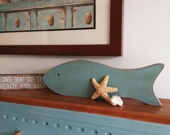 Rustic Wooden Fish Shelf Sitter