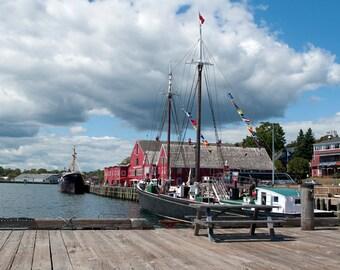 Download Photo, Lunenburg Wharf Print, Fine Art Photography, Doll Background Photography, Seaside Print,Wharfside Photograph,Tall Ship Photo