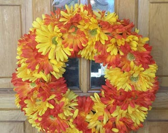 Fall Wreath with Orange and Yellow Daisies