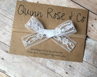 Delicate Lace Bow    Baby Girl Bow    Handmade Bow    White Lace Bow    Beige Lace    Nylon Headband    Vintage Bow    Quinn Rose & Co. Bows