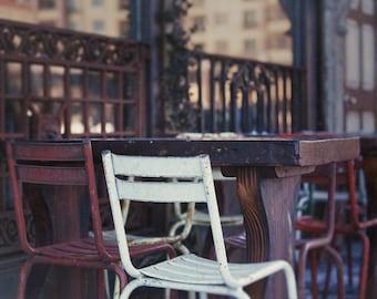 Street Cafe Chairs, Chair Photograph, Asbury Park Street Scene, Cafe Print