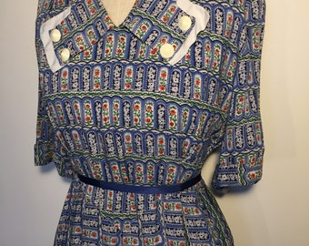Vintage 40s Cotton Dress with Novelty Print
