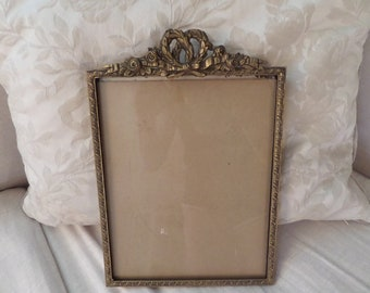 Stunning Antique French Louis Gilt Ormolu Barbola Ribbon Roses Ornate Details Picture Frame